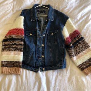 Junie Oversized Denim Knitted Sleeves Jacket